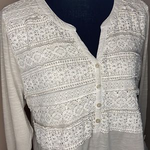 Style & Co. Large Top with Crochet Overlay